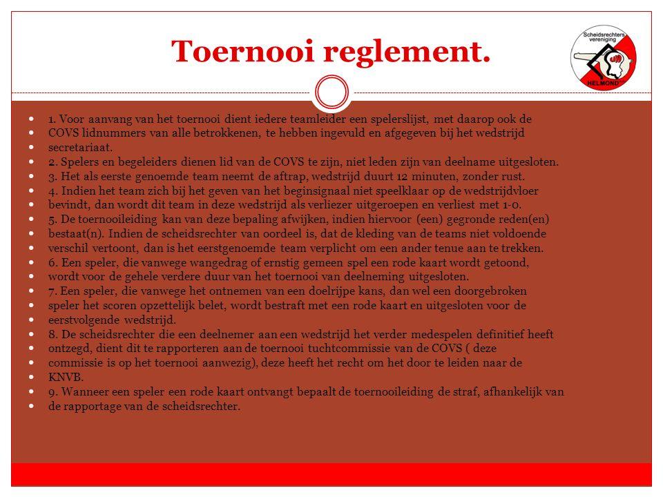 Toernooi reglement. 1.