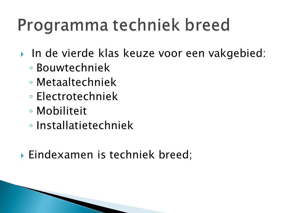  In de vierde klas keuze voor een vakgebied: ◦ Bouwtechniek ◦ Metaaltechniek ◦ Electrotechniek ◦ Mobiliteit ◦ Installatietechniek  Eindexamen is techniek breed ;