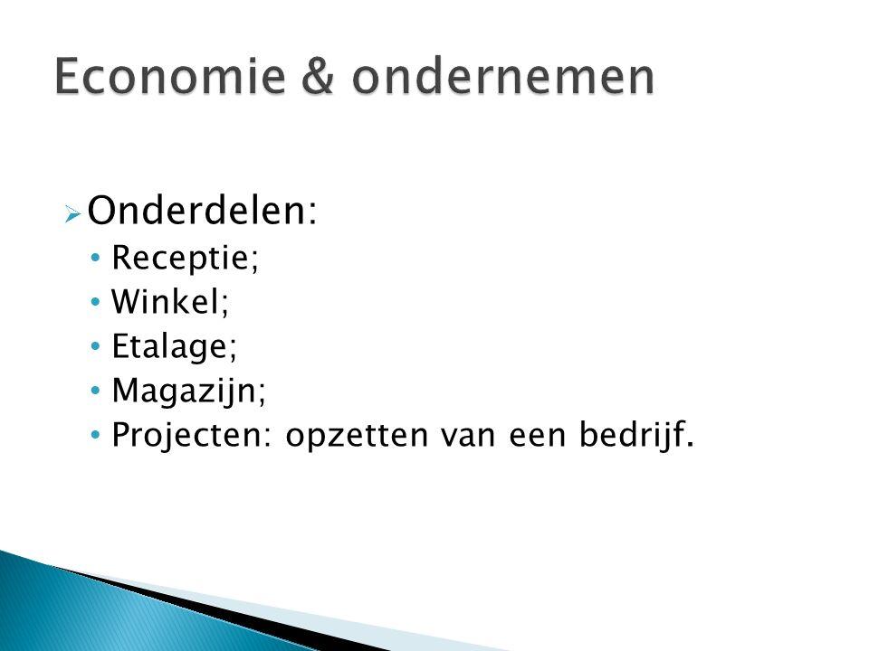  Onderdelen: Receptie; Winkel; Etalage; Magazijn; Projecten: opzetten van een bedrijf.