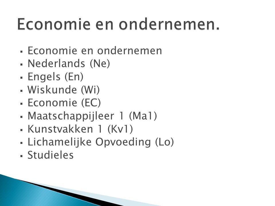  Economie en ondernemen  Nederlands (Ne)  Engels (En)  Wiskunde (Wi)  Economie (EC)  Maatschappijleer 1 (Ma1)  Kunstvakken 1 (Kv1)  Lichamelij