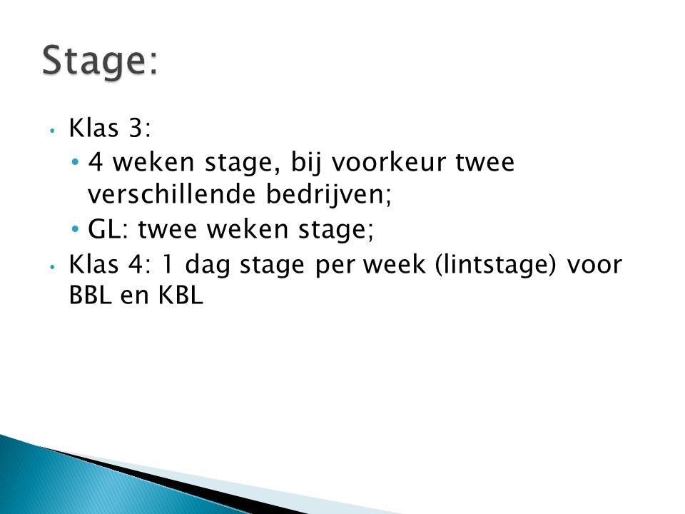 Klas 3: 4 weken stage, bij voorkeur twee verschillende bedrijven; GL: twee weken stage; Klas 4: 1 dag stage per week (lintstage) voor BBL en KBL