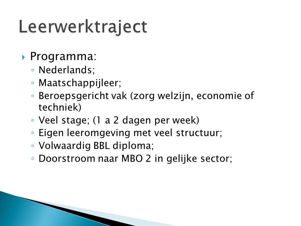  Programma: ◦ Nederlands; ◦ Maatschappijleer; ◦ Beroepsgericht vak (zorg welzijn, economie of techniek) ◦ Veel stage; (1 a 2 dagen per week) ◦ Eigen