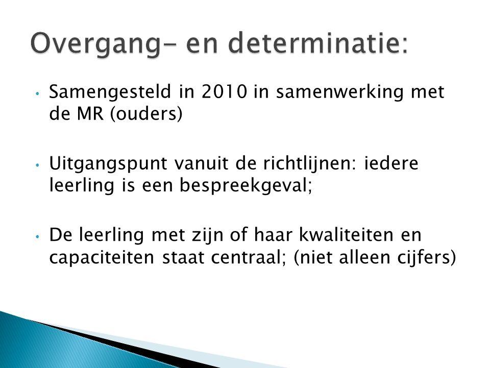 Samengesteld in 2010 in samenwerking met de MR (ouders) Uitgangspunt vanuit de richtlijnen: iedere leerling is een bespreekgeval; De leerling met zijn of haar kwaliteiten en capaciteiten staat centraal; (niet alleen cijfers)
