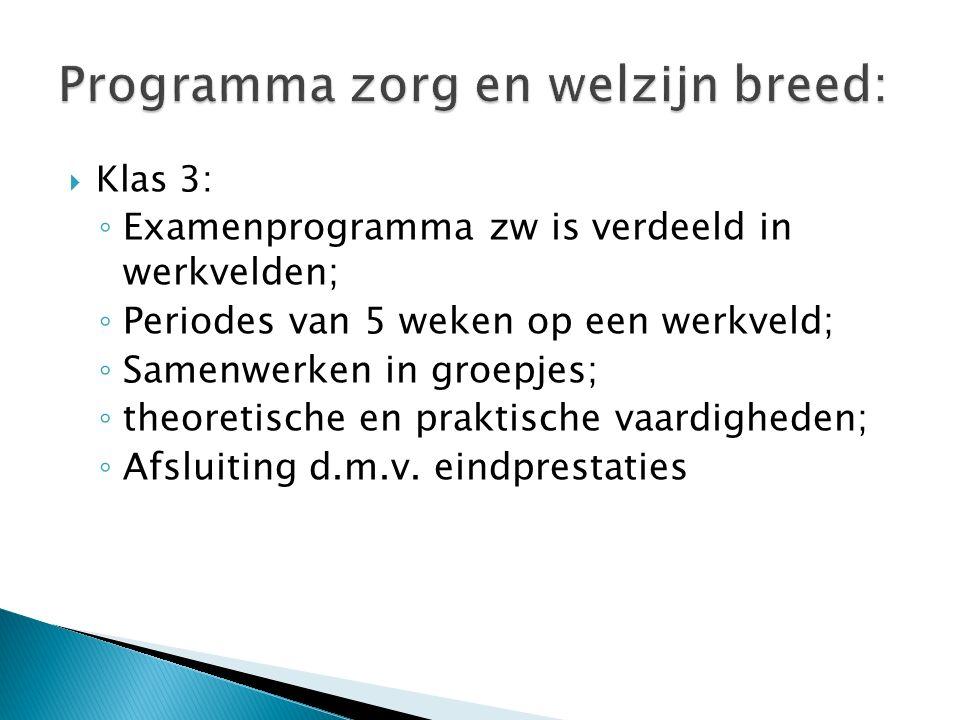  Klas 3: ◦ Examenprogramma zw is verdeeld in werkvelden; ◦ Periodes van 5 weken op een werkveld; ◦ Samenwerken in groepjes; ◦ theoretische en praktische vaardigheden; ◦ Afsluiting d.m.v.
