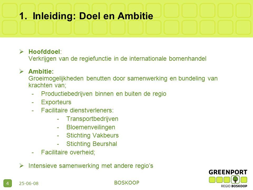 25-06-08 BOSKOOP 4 1.Inleiding: Doel en Ambitie  Hoofddoel: Verkrijgen van de regiefunctie in de internationale bomenhandel  Ambitie: Groeimogelijkh
