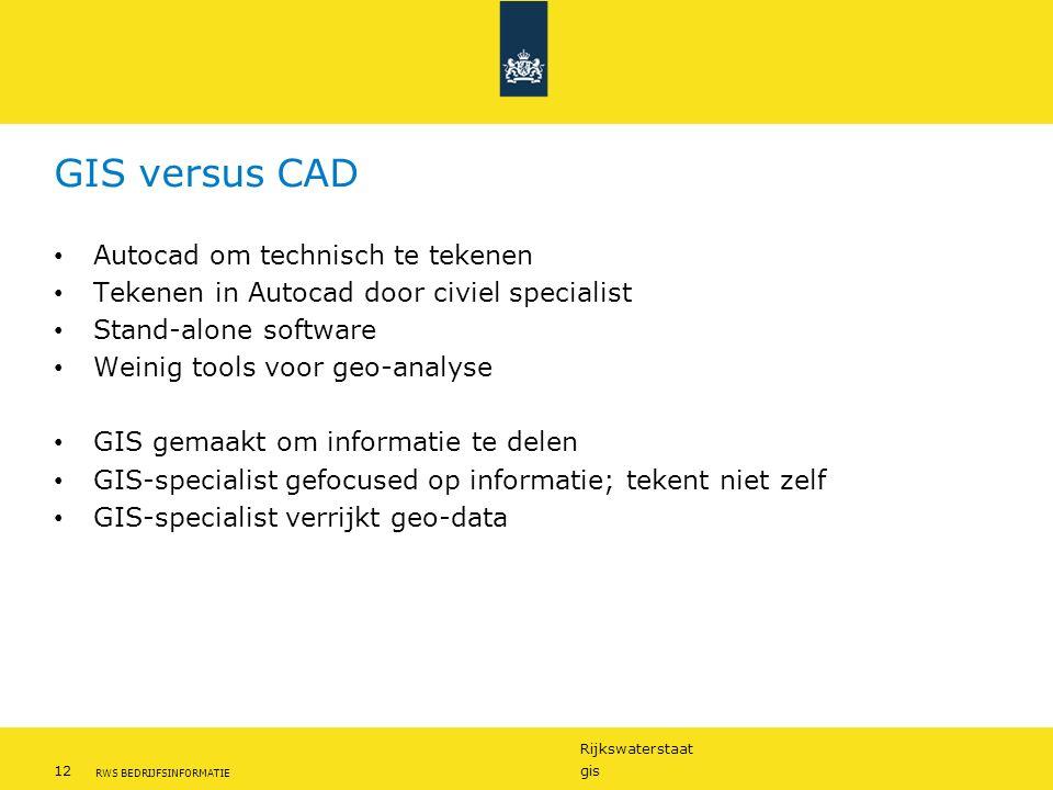 Rijkswaterstaat 12gis RWS BEDRIJFSINFORMATIE GIS versus CAD Autocad om technisch te tekenen Tekenen in Autocad door civiel specialist Stand-alone soft
