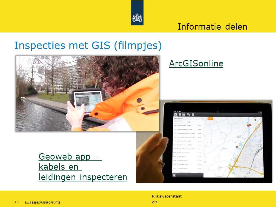 Rijkswaterstaat 13gis RWS BEDRIJFSINFORMATIE Inspecties met GIS (filmpjes) Geoweb app – kabels en leidingen inspecteren ArcGISonline Informatie delen