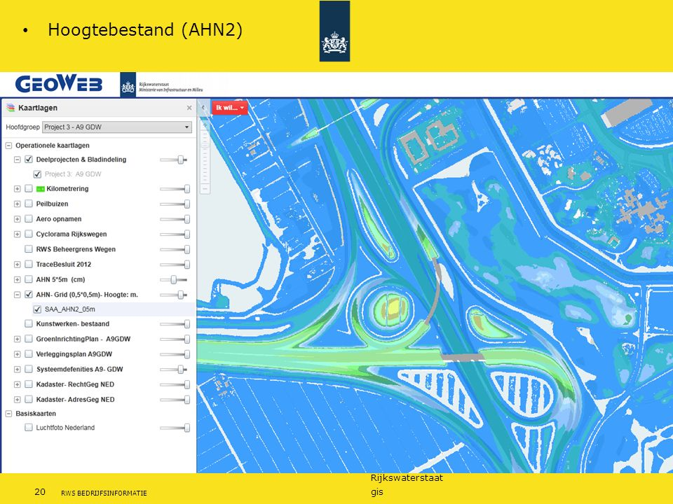 Rijkswaterstaat 20gis RWS BEDRIJFSINFORMATIE Hoogtebestand (AHN2)