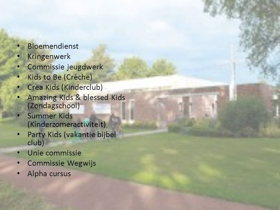Bloemendienst Kringenwerk Commissie jeugdwerk Kids to Be (Crèche) Crea Kids (Kinderclub) Amazing Kids & blessed Kids (Zondagschool) Summer Kids (Kinde