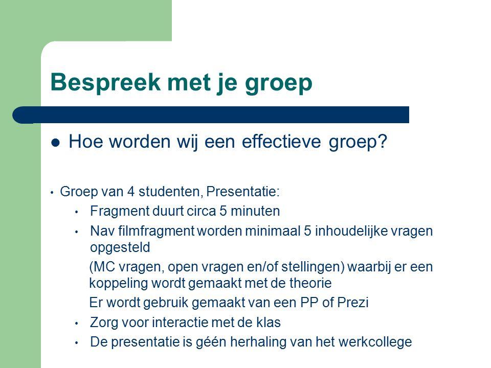 Bespreek met je groep Hoe worden wij een effectieve groep.