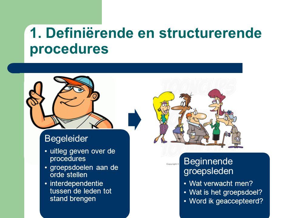 Begeleider uitleg geven over de procedures groepsdoelen aan de orde stellen interdependentie tussen de leden tot stand brengen Beginnende groepsleden Wat verwacht men.