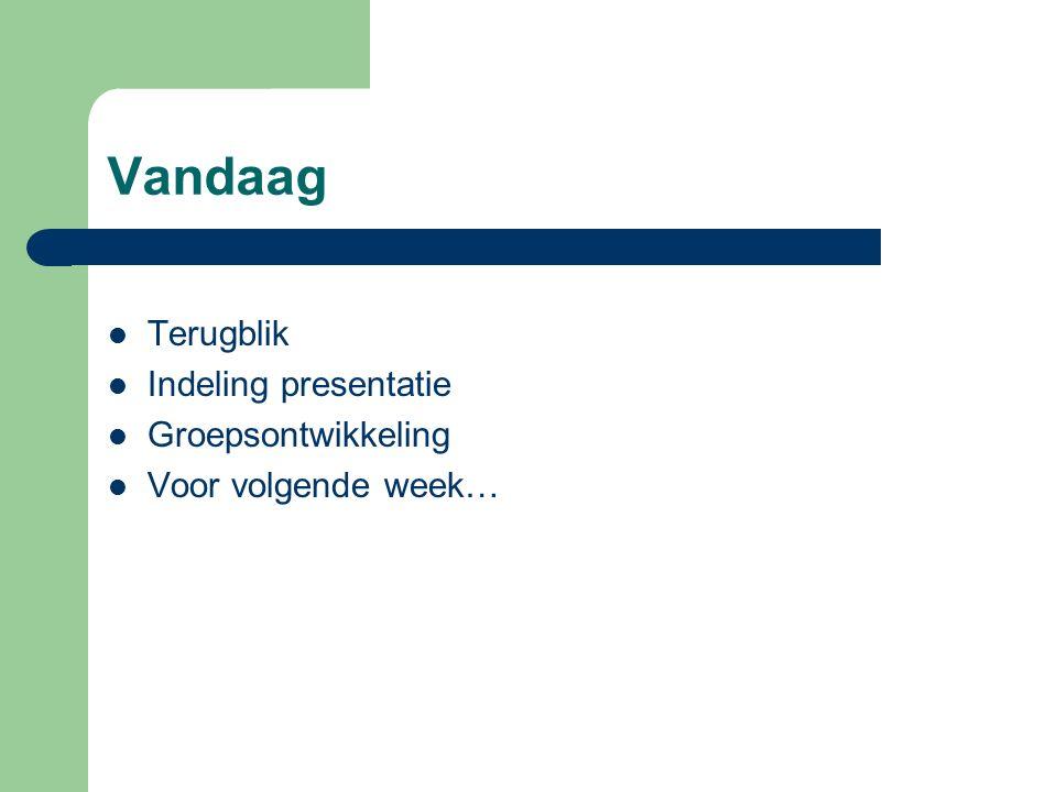Vandaag Terugblik Indeling presentatie Groepsontwikkeling Voor volgende week…