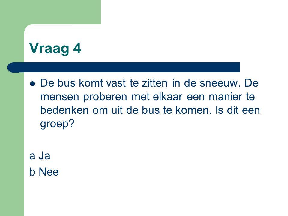 Vraag 4 De bus komt vast te zitten in de sneeuw.