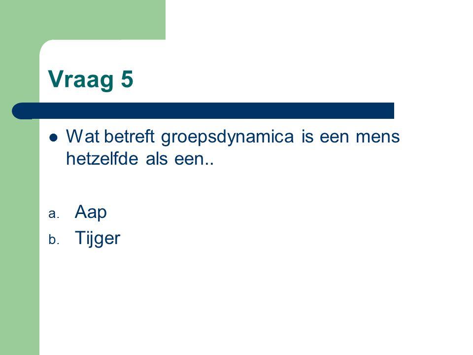 Vraag 5 Wat betreft groepsdynamica is een mens hetzelfde als een.. a. Aap b. Tijger