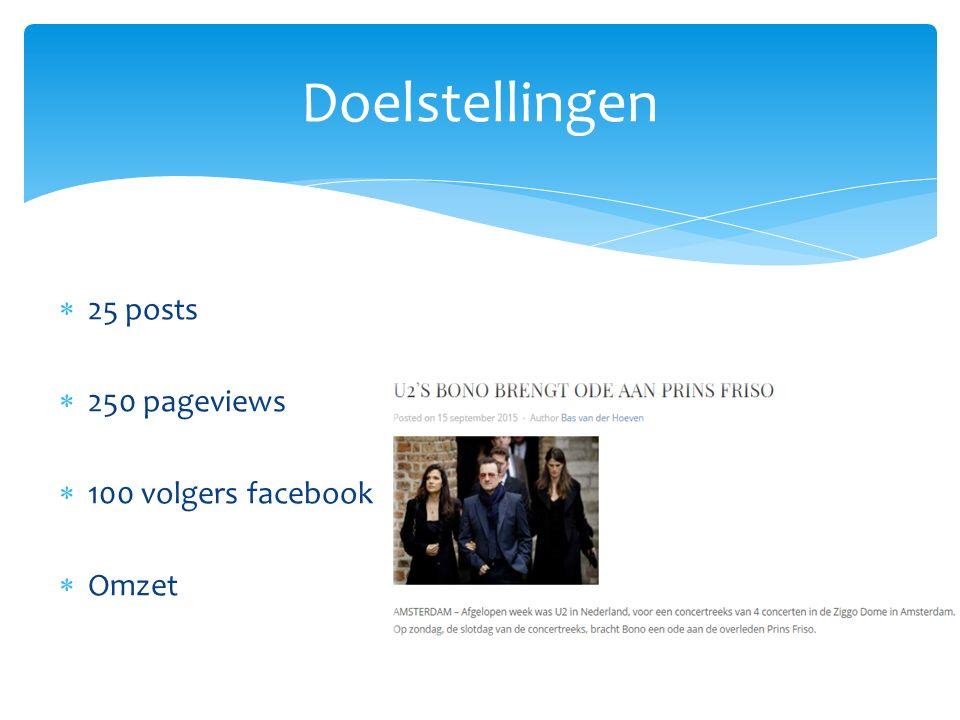  25 posts  250 pageviews  100 volgers facebook  Omzet Doelstellingen