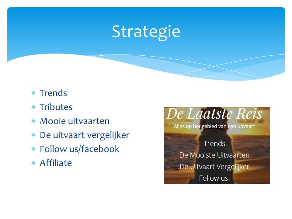 Trends  Tributes  Mooie uitvaarten  De uitvaart vergelijker  Follow us/facebook  Affiliate Strategie