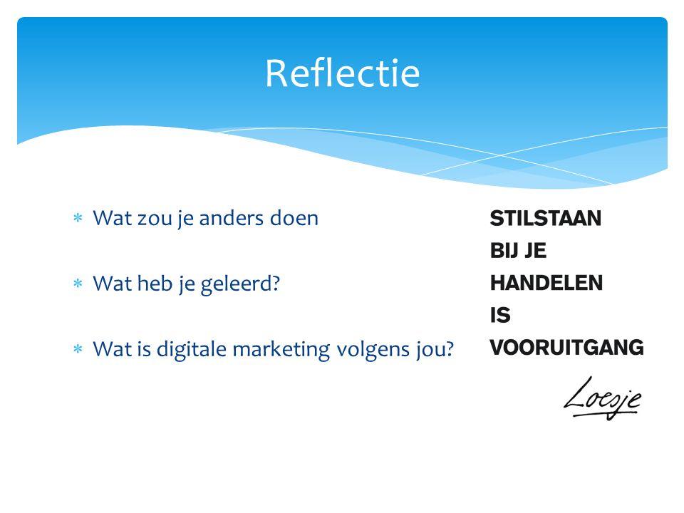  Wat zou je anders doen  Wat heb je geleerd  Wat is digitale marketing volgens jou Reflectie
