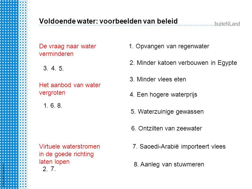Voldoende water: voorbeelden van beleid De vraag naar water verminderen Het aanbod van water vergroten Virtuele waterstromen in de goede richting late