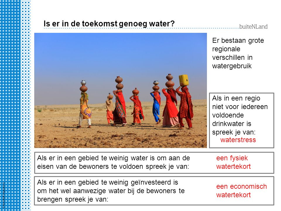 Is er in de toekomst genoeg water? Er bestaan grote regionale verschillen in watergebruik Als in een regio niet voor iedereen voldoende drinkwater is