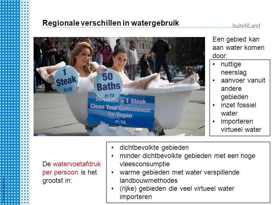 Regionale verschillen in watergebruik Een gebied kan aan water komen door: nuttige neerslag aanvoer vanuit andere gebieden inzet fossiel water importe