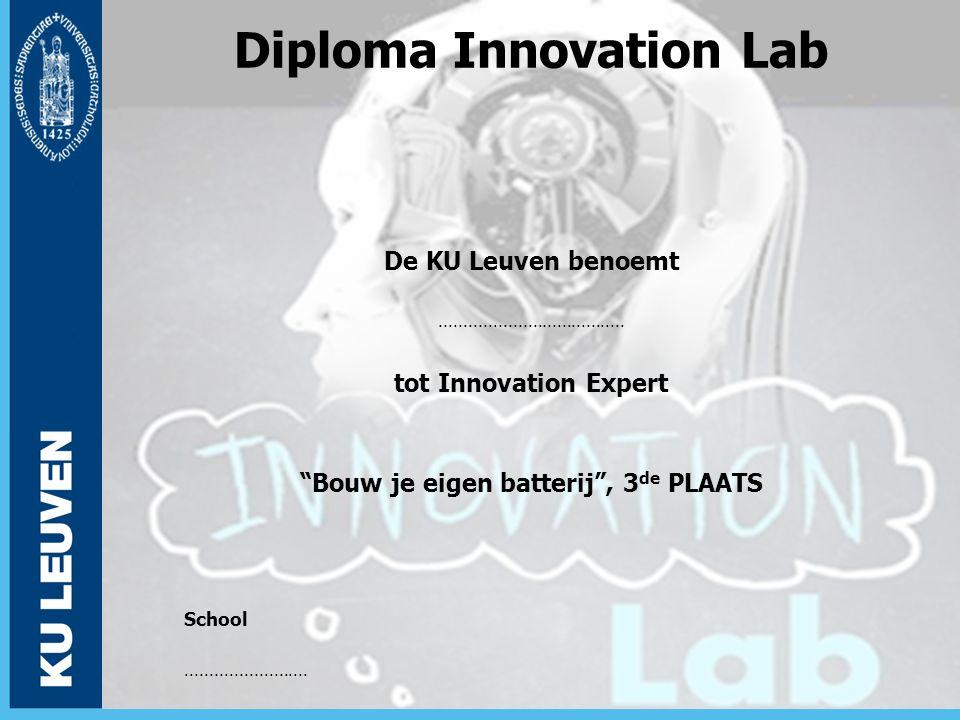 """Diploma Innovation Lab De KU Leuven benoemt...................................... tot Innovation Expert """"Bouw je eigen batterij"""", 3 de PLAATS School.."""
