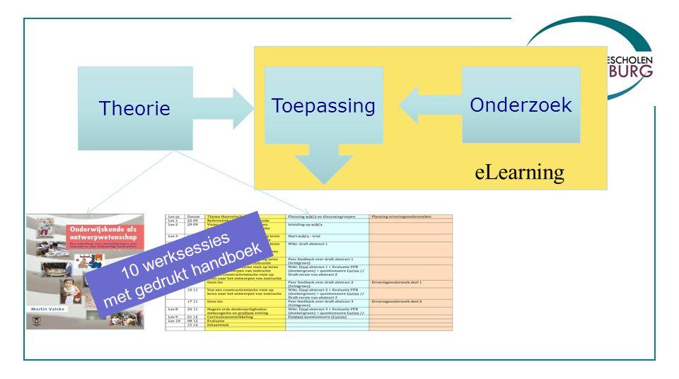 10 werksessies met gedrukt handboek eLearning Theorie Toepassing Onderzoek