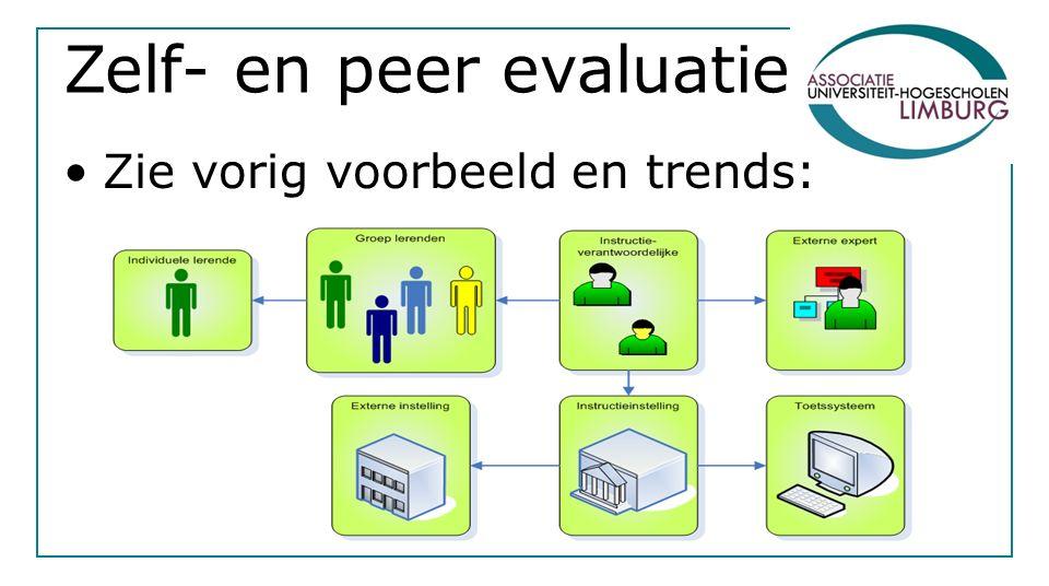 Zelf- en peer evaluatie Zie vorig voorbeeld en trends: