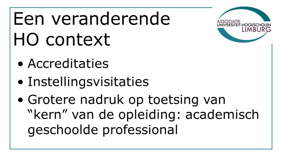 Een veranderende HO context Accreditaties Instellingsvisitaties Grotere nadruk op toetsing van kern van de opleiding: academisch geschoolde professional