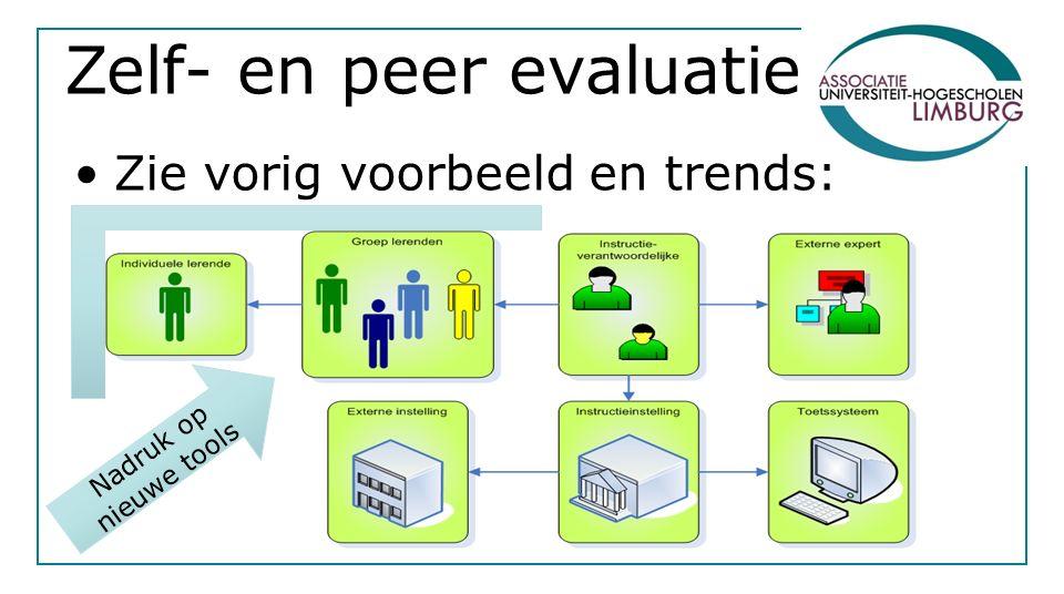 Zelf- en peer evaluatie Zie vorig voorbeeld en trends: Nadruk op nieuwe tools