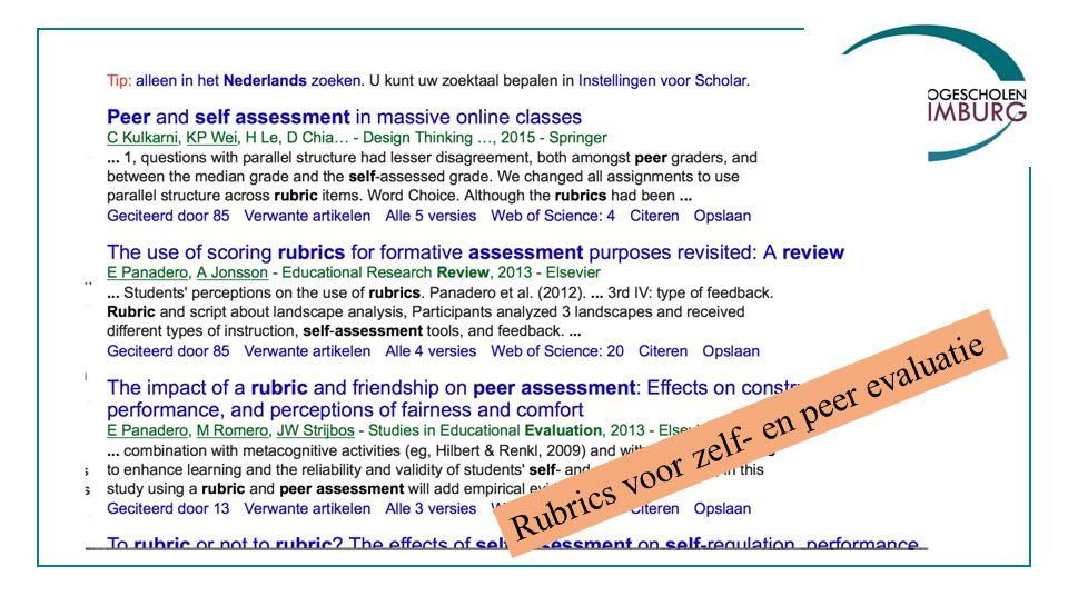 Rubrics voor zelf- en peer evaluatie