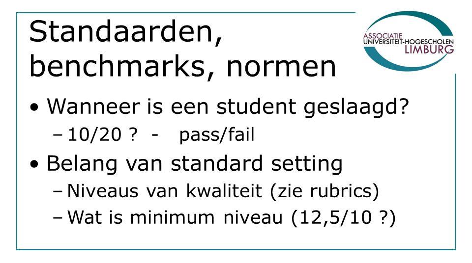 Standaarden, benchmarks, normen Wanneer is een student geslaagd.