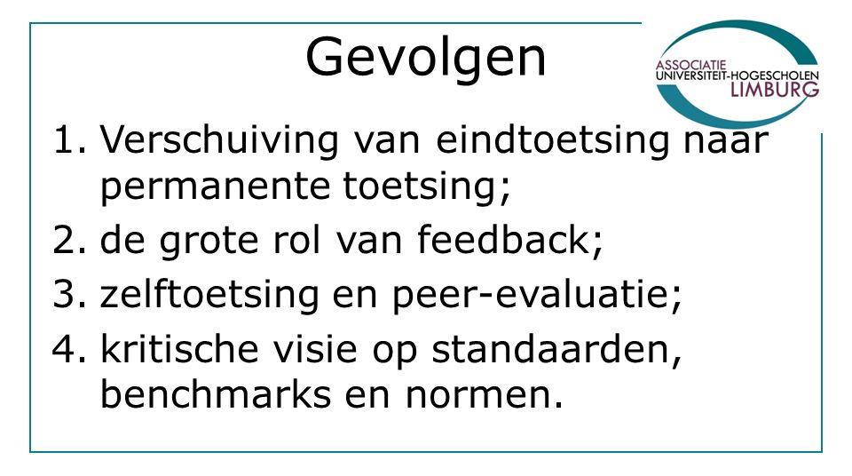 Gevolgen 1.Verschuiving van eindtoetsing naar permanente toetsing; 2.de grote rol van feedback; 3.zelftoetsing en peer-evaluatie; 4.kritische visie op standaarden, benchmarks en normen.