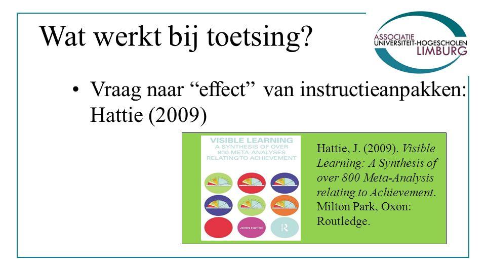 Wat werkt bij toetsing. Vraag naar effect van instructieanpakken: Hattie (2009) Hattie, J.
