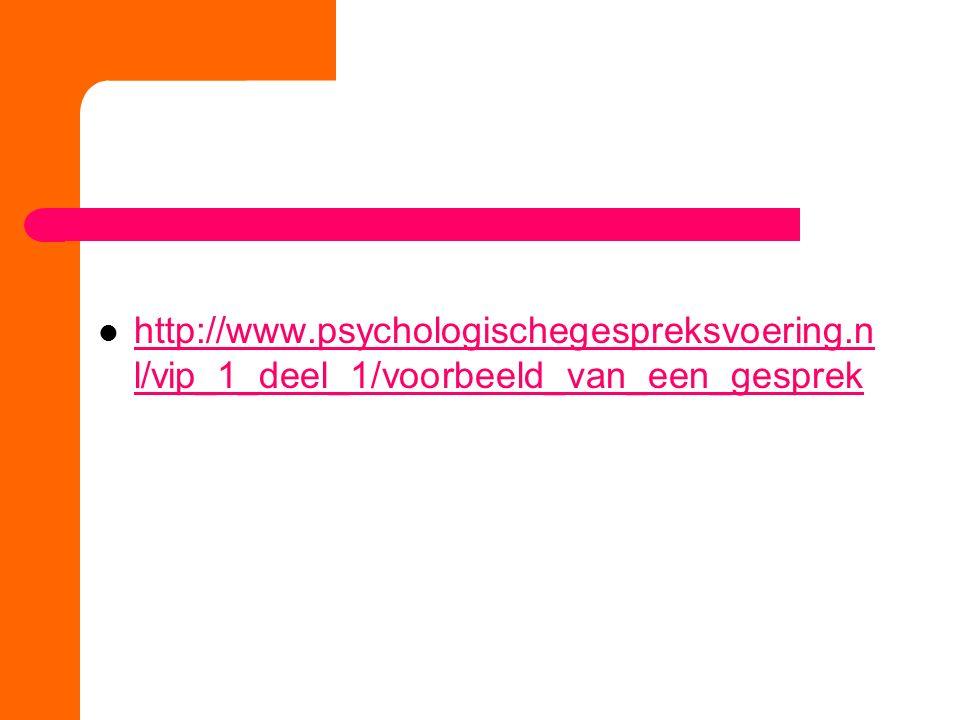 http://www.psychologischegespreksvoering.n l/vip_1_deel_1/voorbeeld_van_een_gesprek http://www.psychologischegespreksvoering.n l/vip_1_deel_1/voorbeel
