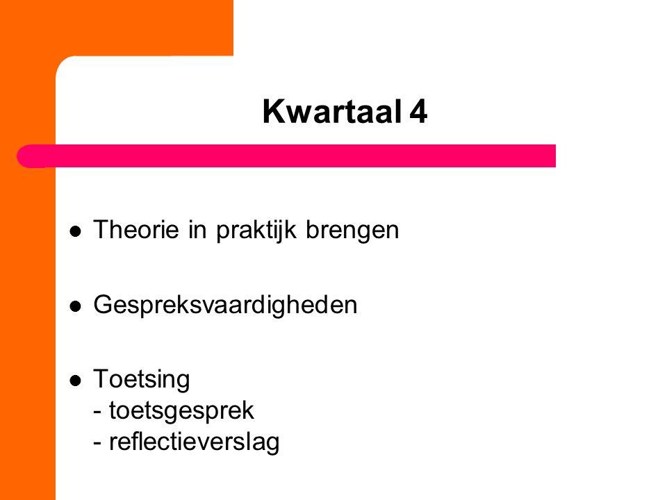 Kwartaal 4 Theorie in praktijk brengen Gespreksvaardigheden Toetsing - toetsgesprek - reflectieverslag