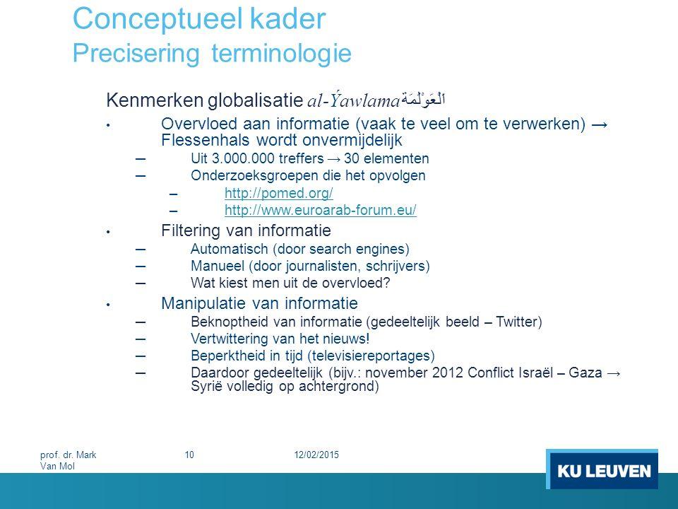 Conceptueel kader Precisering terminologie Kenmerken globalisatie al-Ýawlama اَلْعَوْلَمَة Overvloed aan informatie (vaak te veel om te verwerken) → F
