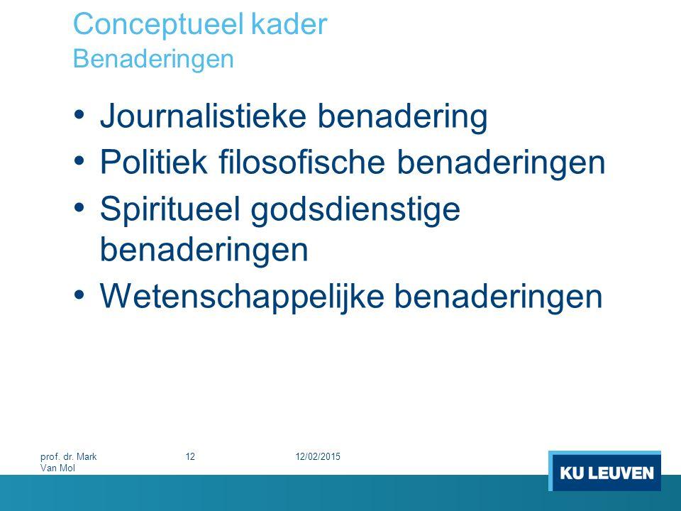 Conceptueel kader Benaderingen Journalistieke benadering Politiek filosofische benaderingen Spiritueel godsdienstige benaderingen Wetenschappelijke be