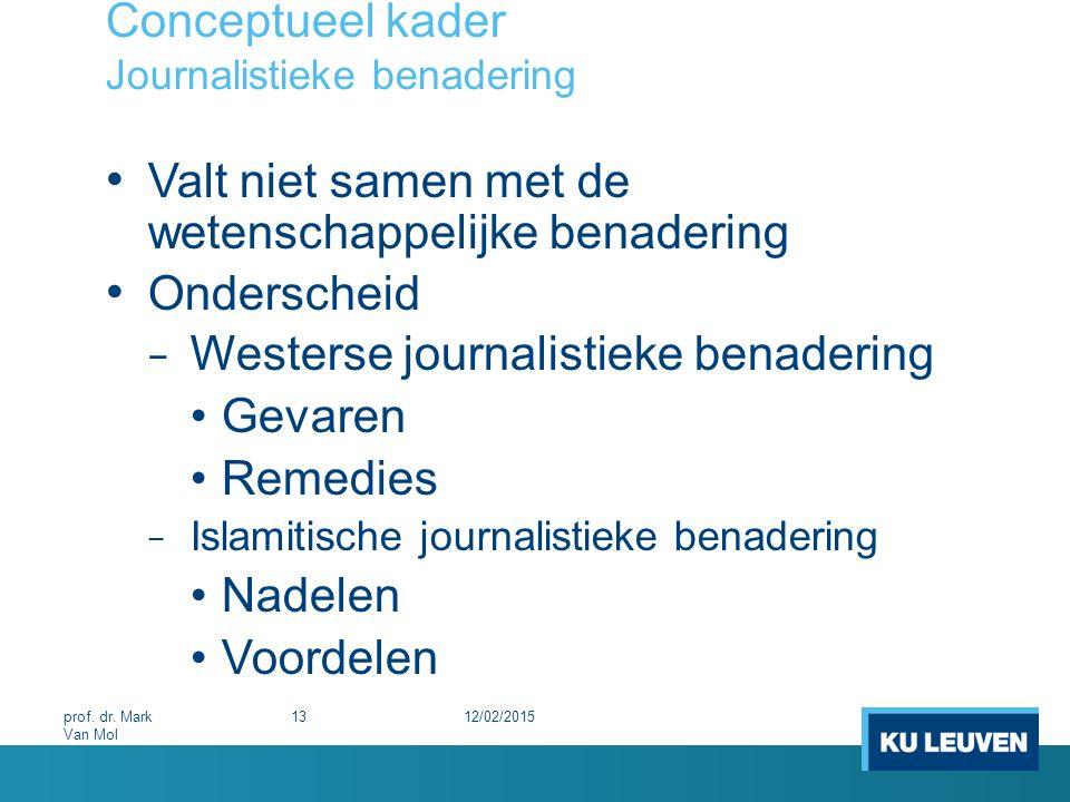 Conceptueel kader Journalistieke benadering Valt niet samen met de wetenschappelijke benadering Onderscheid − Westerse journalistieke benadering Gevar