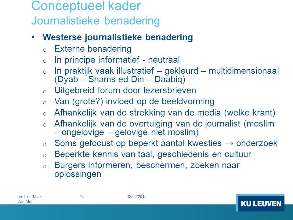 Conceptueel kader Journalistieke benadering Westerse journalistieke benadering o Externe benadering o In principe informatief - neutraal o In praktijk