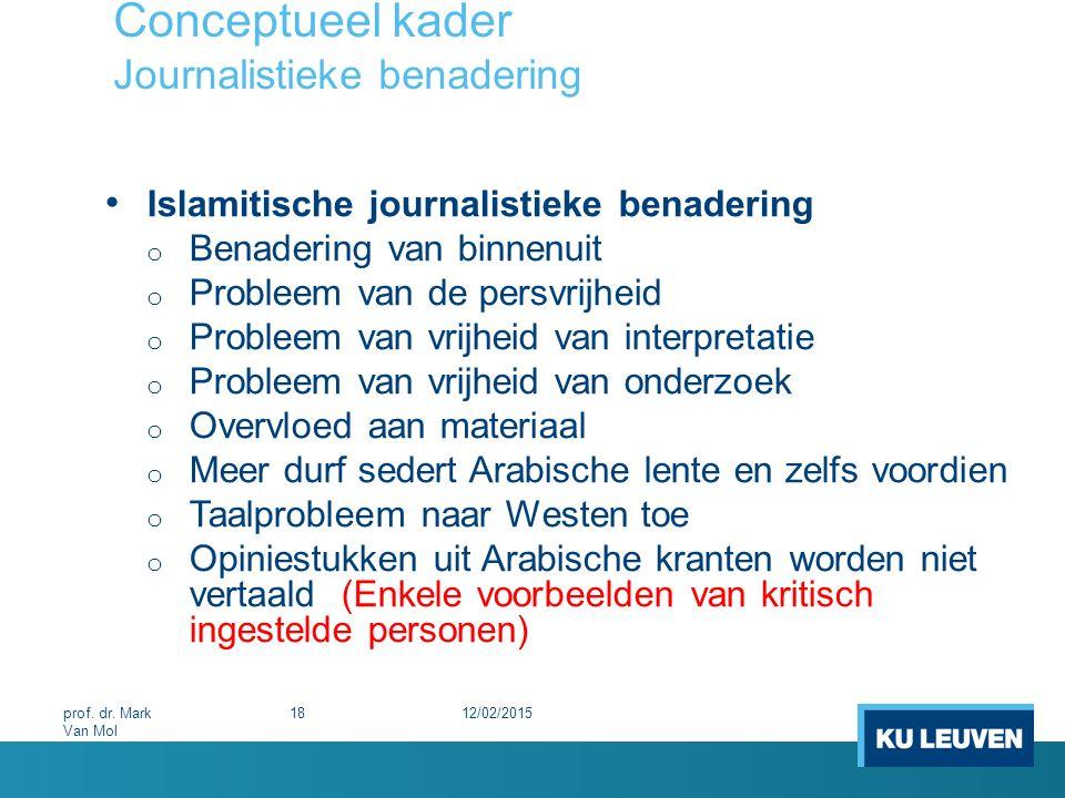 Conceptueel kader Journalistieke benadering Islamitische journalistieke benadering o Benadering van binnenuit o Probleem van de persvrijheid o Problee