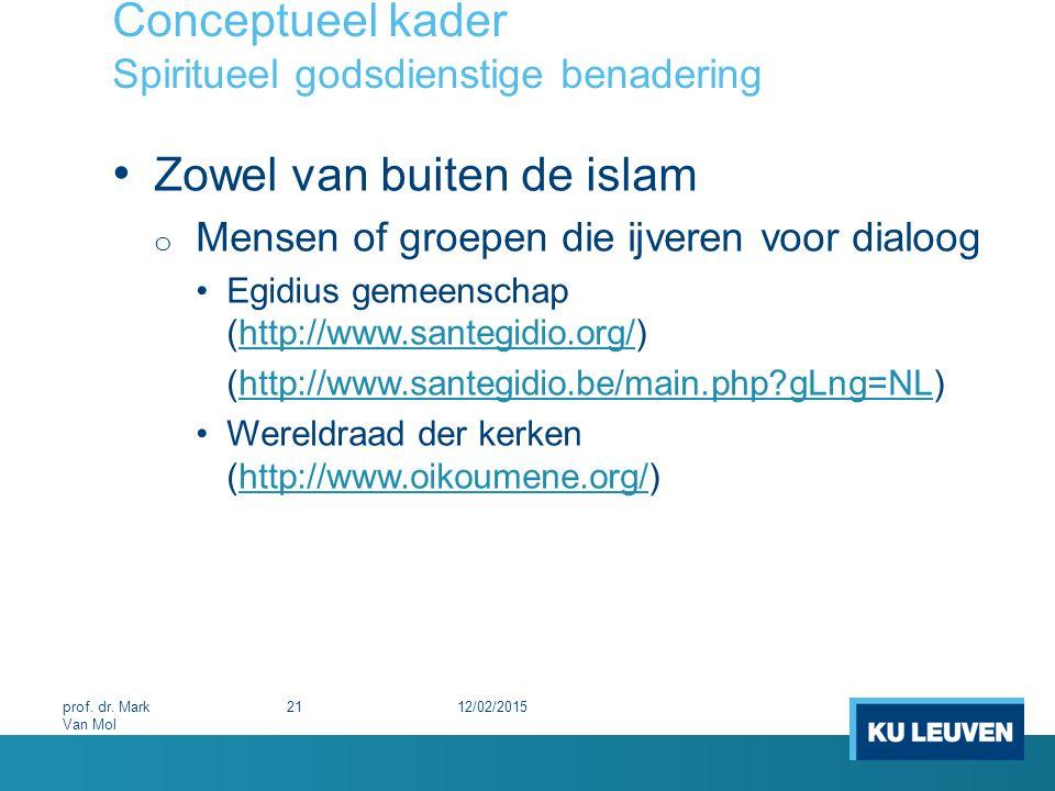Conceptueel kader Spiritueel godsdienstige benadering Zowel van buiten de islam o Mensen of groepen die ijveren voor dialoog Egidius gemeenschap (http