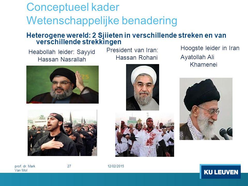 Conceptueel kader Wetenschappelijke benadering Heterogene wereld: 2 Sjiieten in verschillende streken en van verschillende strekkingen 12/02/201527pro