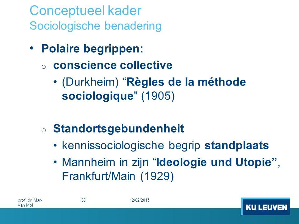 """Conceptueel kader Sociologische benadering Polaire begrippen: o conscience collective (Durkheim) """"Règles de la méthode sociologique"""