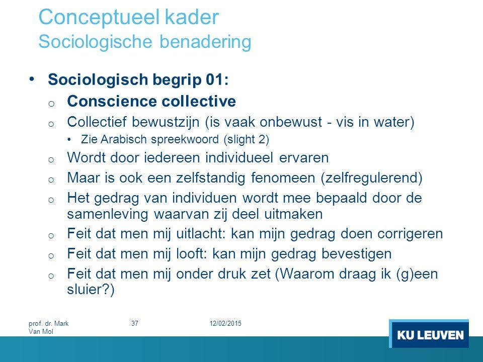 Conceptueel kader Sociologische benadering Sociologisch begrip 01: o Conscience collective o Collectief bewustzijn (is vaak onbewust - vis in water) Z