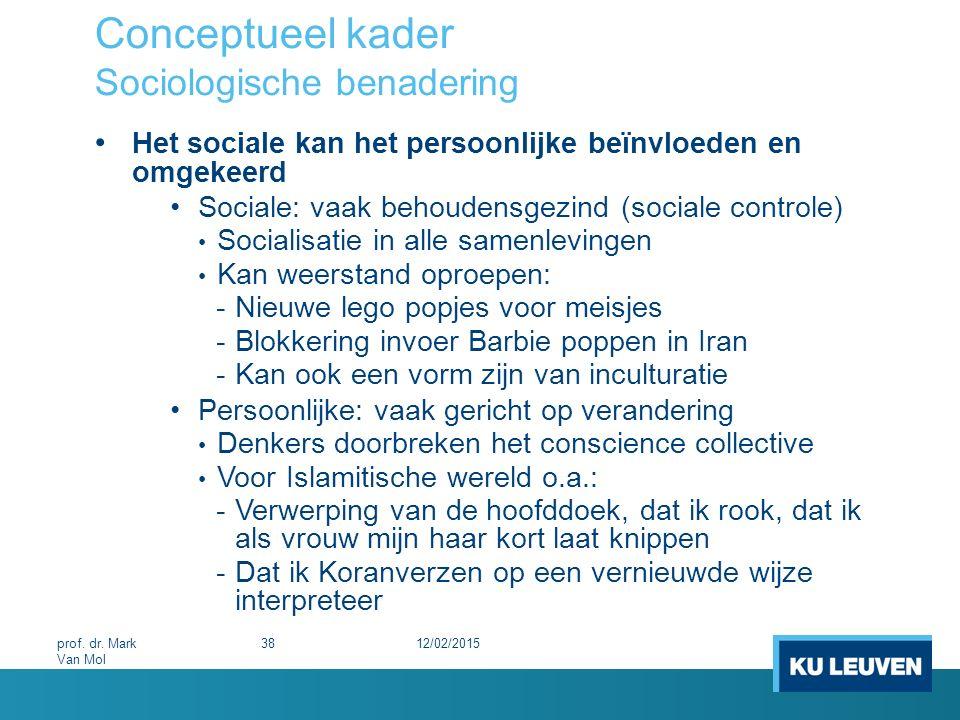 Conceptueel kader Sociologische benadering Het sociale kan het persoonlijke beïnvloeden en omgekeerd Sociale: vaak behoudensgezind (sociale controle)