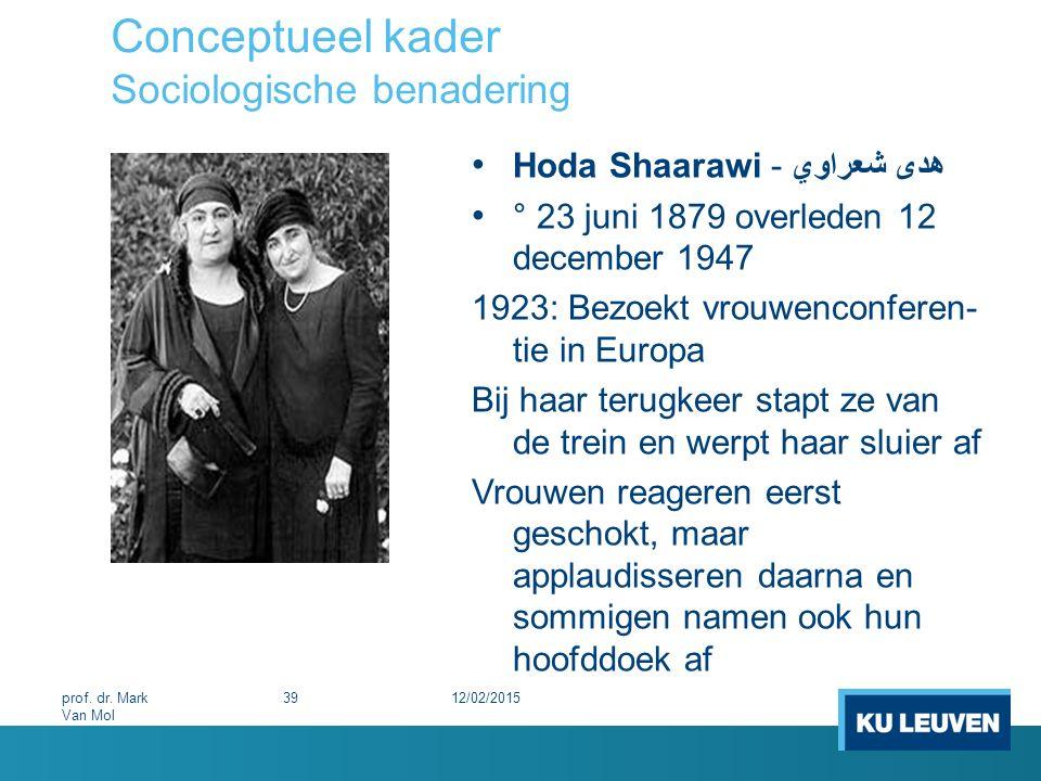 Conceptueel kader Sociologische benadering 12/02/201539prof. dr. Mark Van Mol Hoda Shaarawi - هدى شعراوي ° 23 juni 1879 overleden 12 december 1947 19