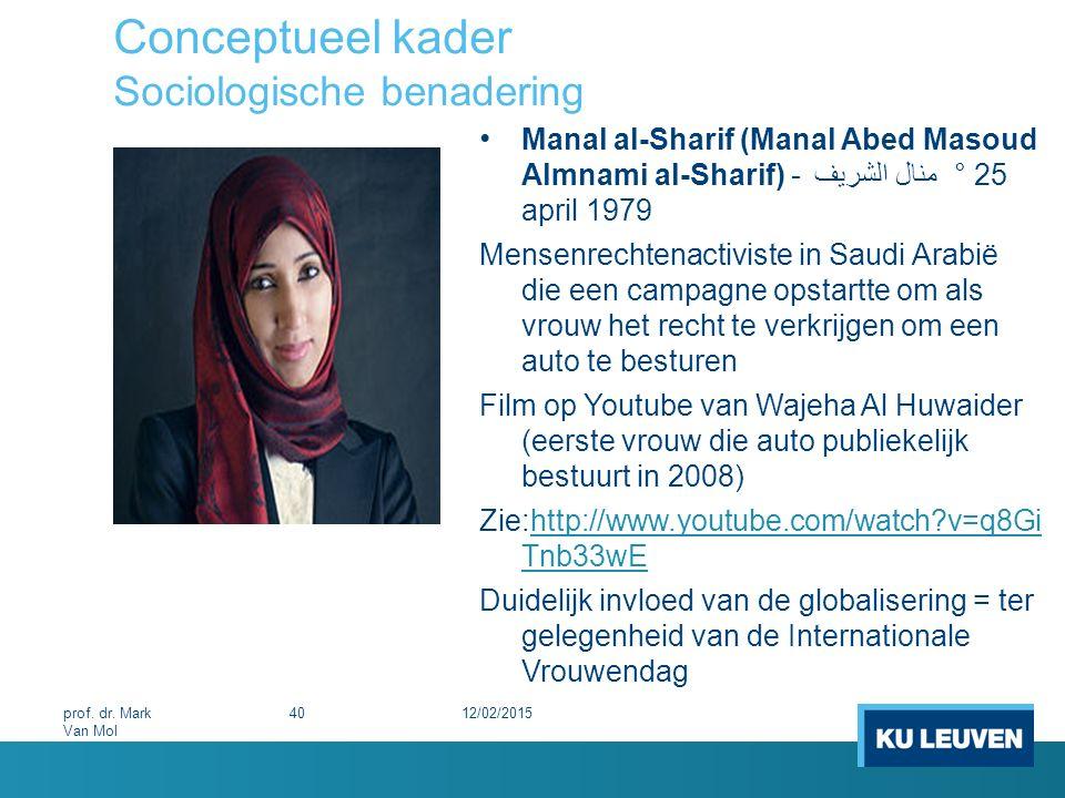 Conceptueel kader Sociologische benadering 12/02/201540prof. dr. Mark Van Mol Manal al-Sharif (Manal Abed Masoud Almnami al-Sharif) - منال الشريف  °