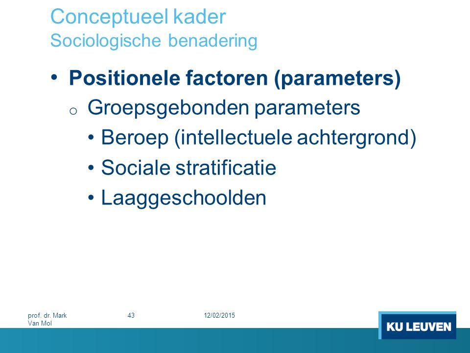 Conceptueel kader Sociologische benadering Positionele factoren (parameters) o Groepsgebonden parameters Beroep (intellectuele achtergrond) Sociale st