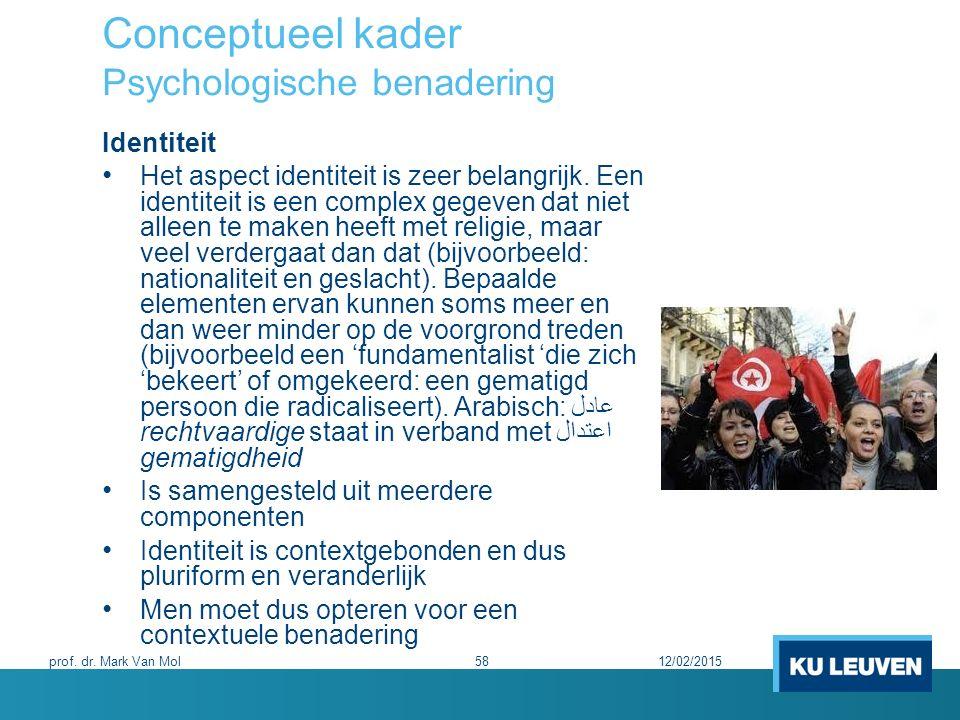 Conceptueel kader Psychologische benadering Identiteit Het aspect identiteit is zeer belangrijk. Een identiteit is een complex gegeven dat niet alleen