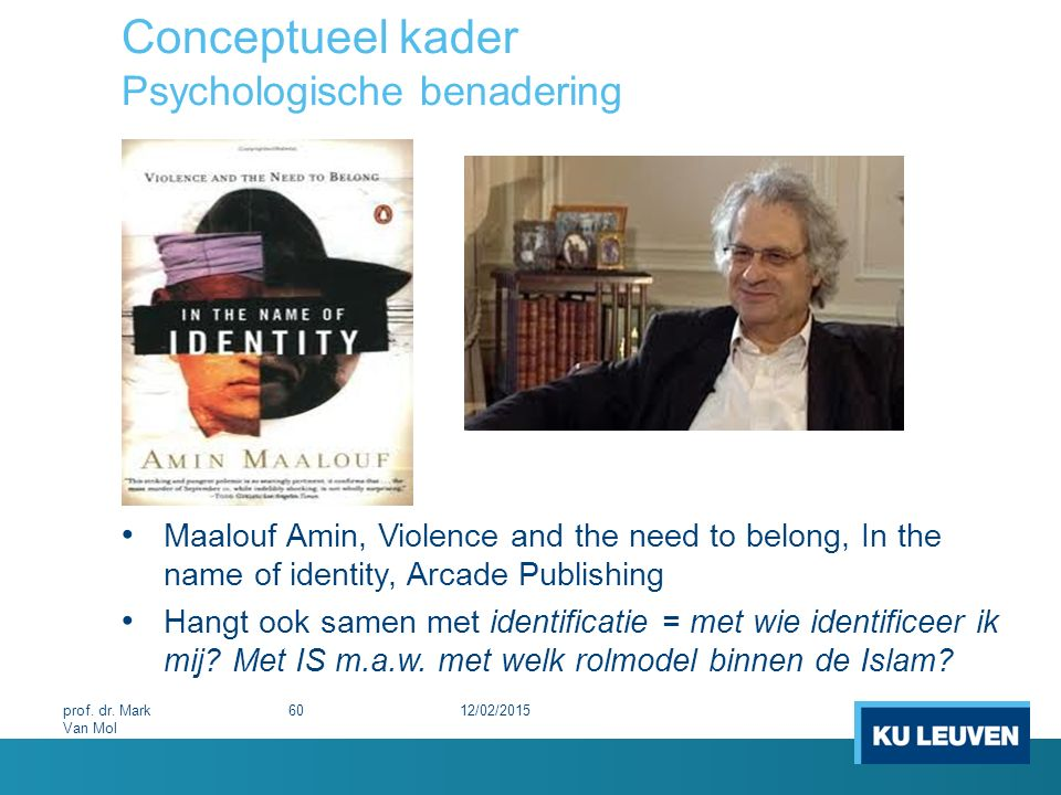 Conceptueel kader Psychologische benadering Maalouf Amin, Violence and the need to belong, In the name of identity, Arcade Publishing Hangt ook samen